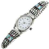 Navajo Inlaid Turquoise Watch Bracelet 31842