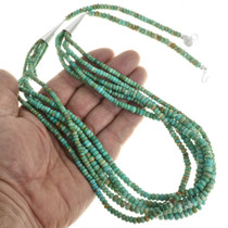Navajo Five Strand Turquoise Bead Necklace 31854