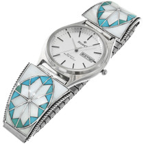 Old Pawn Inlaid Turquoise Zuni Mens Watch Valero Star Sterling Tips 31862