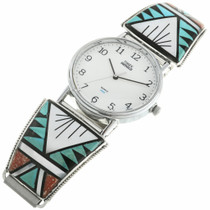 Old Pawn Inlaid Turquoise Zuni Mens Watch Sterling Tips 31865