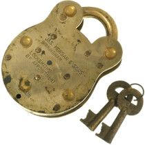 Working Antique Padlock English Admiralty With Two Keys 31866
