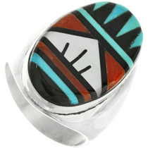 Old Pawn Zuni Turquoise Mens Ring 31881