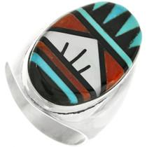 Old Pawn Zuni Turquoise Mens Ring 31881