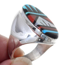 Zuni Inlay Coral Turquoise Ring 31881