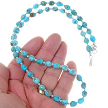 Turquoise Silver Bead Navajo Necklace 31888