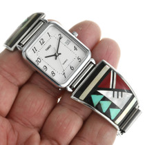 Turquoise Coral Inlay Sterling Silver Watch 31890