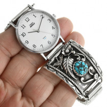 Sterling Silver Turquoise Mens Watch 31892