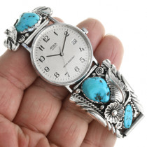 Sky Blue Turquoise Nuggets in Sterling Silver Watch Ends 31894
