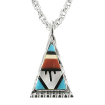 Sterling Silver Triangle Zuni Pendant 32009