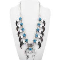 Bear Claw Turquoise Squash Blossom Necklace 32015