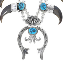 Natural Turquoise Sterling Silver Bear Claw Necklace 32015