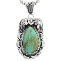 Green Turquoise Silver Pendant 32020