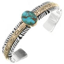 Turquoise Gold Silver Navajo Bracelet 32021