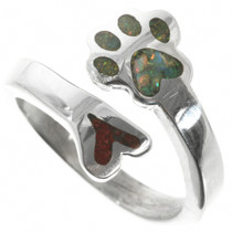 Opal Coral Heart Puppy Paw Ring 32027