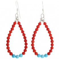 Coral Blue Turquoise Navajo Earrings 32028