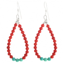 Coral Turquoise Navajo Dangle Earrings 32033