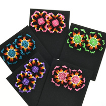 Navajo Seed Beaded Flower Earrings 32043