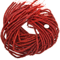 6mm Rondelle Red Coral Beads 31944