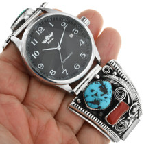 Turquoise Coral in Sterling Silver Western Watch 32075