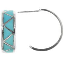 Turquoise Inlay Zuni Earrings 32083