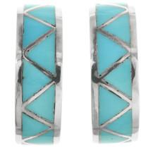 Zuni Turquoise Half Hoop Earrings 32083
