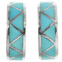Zuni Turquoise Half Hoop Earrings 32083