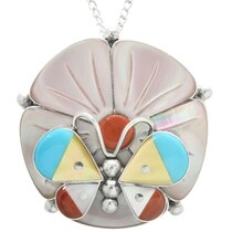Zuni Butterfly Flower Pendant 32084