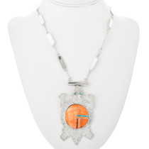 Spiny Oyster Inlay Sterling Silver Navajo Necklace 32092