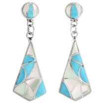 Zuni Mother of Pearl Turquoise Earrings 32095