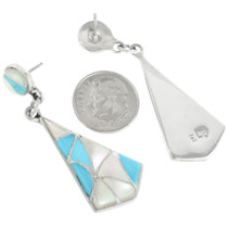 Sterling Silver Turquoise Post Dangle Earrings 32095