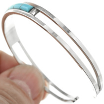 Sky Blue Turquoise Set in Sterling Silver Cuff 32098