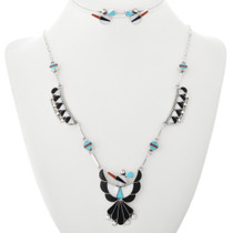 Zuni Turquoise Thunderbird Necklace Set 32100
