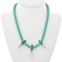 Navajo Turquoise Silver Claw Necklace 32102