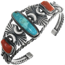 Native American Turquoise Coral Cuff Bracelet 32116