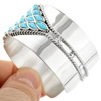 Turquoise Silver Inlay Cuff Bracelet 32123