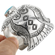 Navajo Patterned Sterling Silver Cuff 32126