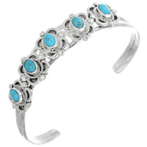 Navajo Turquoise Silver Cuff Bracelet 32129