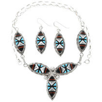 Zuni Inlay Turquoise Necklace Earrings Set 32142