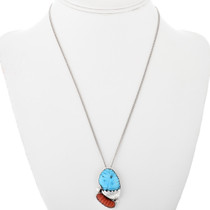 Native American Turquoise Silver Pendant 32159