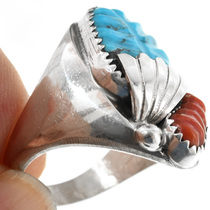 Turquoise Coral set in Sterling Silver Ring 32163