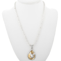 Eagle Pendant on Silver Bead Necklace 32164
