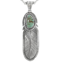 Navajo Turquoise Feather Pendant 32165