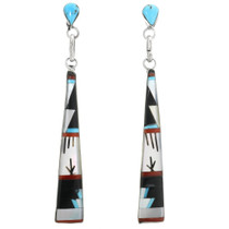 Zuni Turquoise Inlay Dangle Earrings 32169