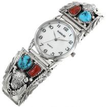 Navajo Turquoise Buffalo Watch 32170