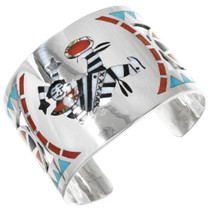 Zuni Clown Kachina Silver Cuff 32172