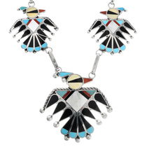 Zuni Turquoise Inlay Thunderbird Necklace 32180