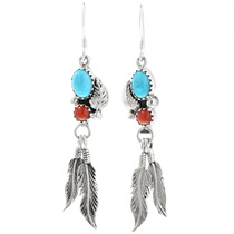 Navajo Turquoise Feather Earrings 32183