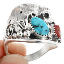 Turquoise Coral Bear Ring 32184