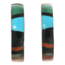 Multi Stone Turquoise Hoop Earrings 32185