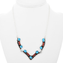 Navajo Turquoise Coral Necklace 32191